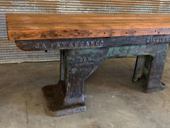 Steampunk Industrial / Barnwood Side Hallway Console / Table / Machine Age Lamps / Steam Gauge Table  #2518 sold