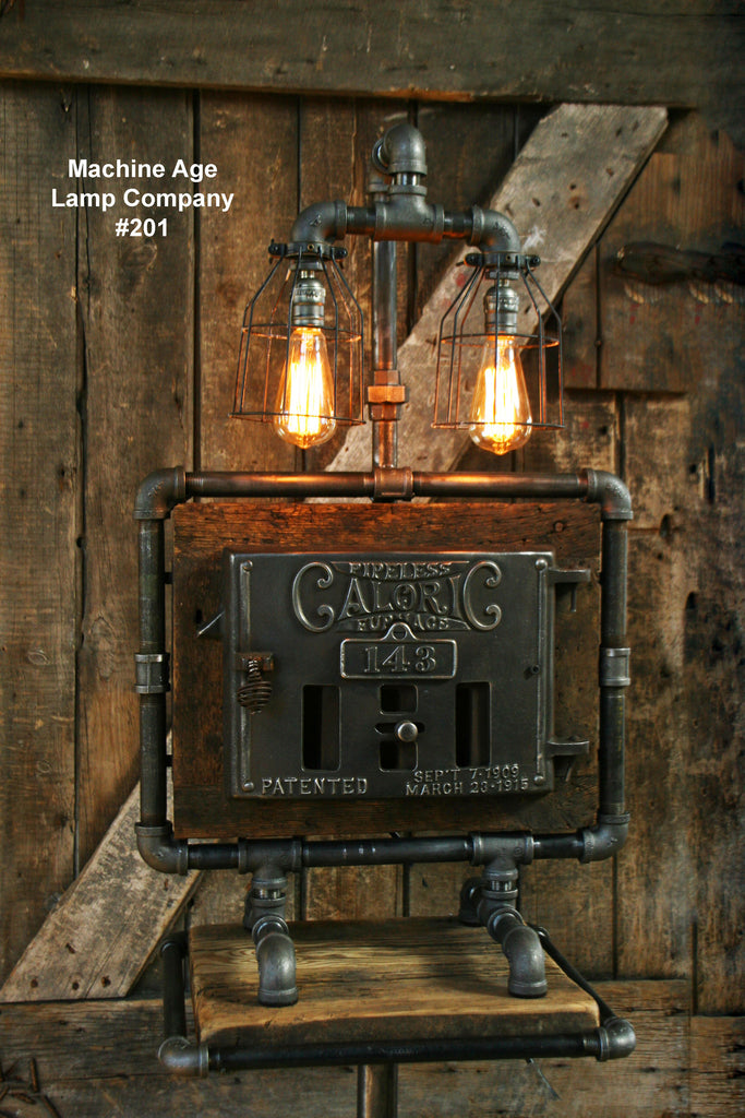 Steampunk Lamp, Iron Door and Barn Wood #201 - SOLD