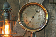 Steampunk Lamp, Steam Gauge and Green Shade #216 - SOLD