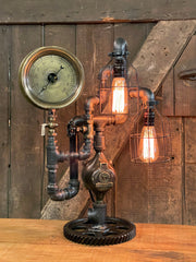 Steampunk Industrial / Steam Gauge Lamp / Gear / Philadelphia PA /  Lamp #3264