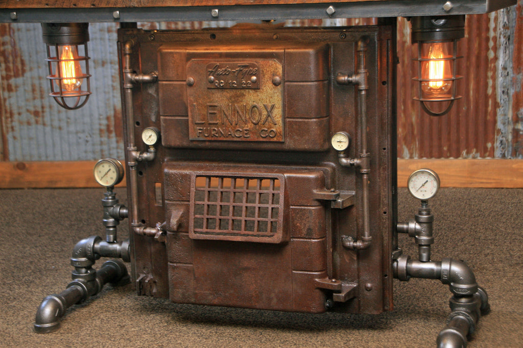 Steampunk Industrial Antique Boiler/Stove Door Table / Barn Wood / #1448 sold