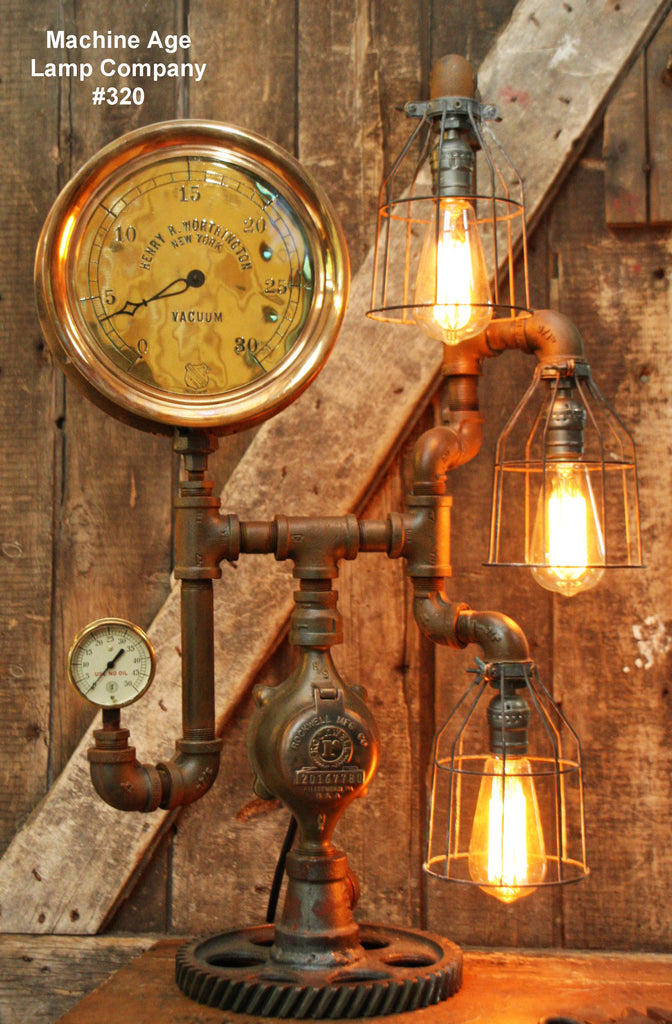 Steampunk Industrial Lamp, Steam Gauge  #320 - sold