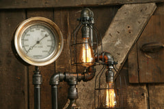 Steampunk Industrial / Steam Gauge Lamp / Gear Base / Locomotive / Lamp #1704 sold