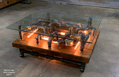 Steampunk Industrial Barnwood Coffee Table / Machine Age Lamps / Steam Gauge Table  #2517