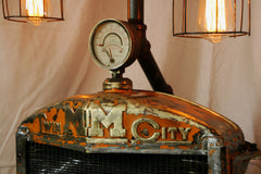 Steampunk Minneapolis Moline Farm Steam Gauge Lamp Floor - SOLD