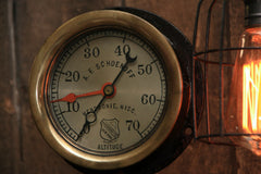Steampunk Industrial / Antique Steam Gauge  / Gear / Lamp #1691