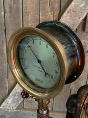 Steampunk Industrial / Machine Age Lamp / Antique Steam Gauge  / Lamp #2648