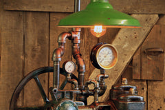 Steampunk Industrial / Antique Crane Water Pump / Light / Lamp / Barnwood / Green Shade / #1644 sold