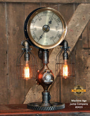 "Steampunk Industrial / Antique 10"" Steam Gauge / Gear Base / Lamp #2423"