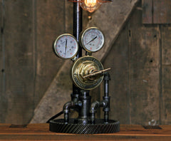 Steampunk Industrial Lamp / Antique Welding Regulator / Gear / Chicago / Lamp #2715 sold