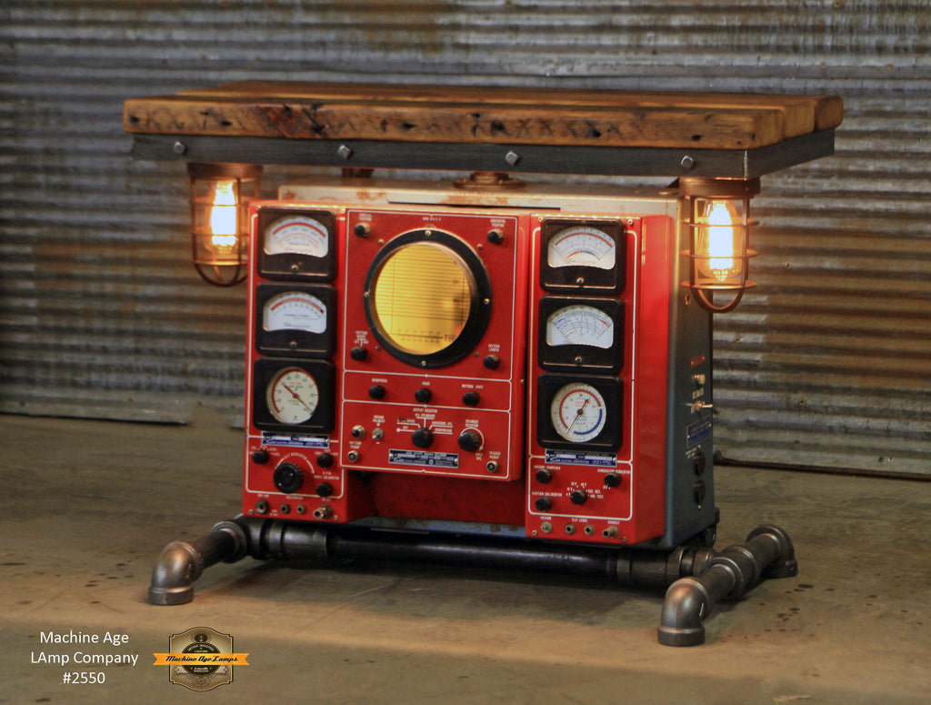 Steampunk Industrial Table / Antique Sun Engine Analyzer / Automotive / Barn wood Table / #2550
