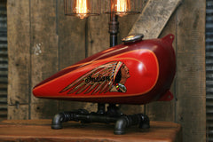 Steampunk Industrial / 1930's Indian Scout Gas Tank Lamp / Motorcycle Lamp #2024 sold