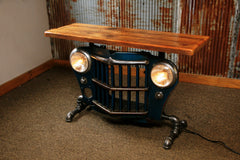 Steampunk Industrial Antique Jeep Willys Grille Table, Console - #1443 - SOLD