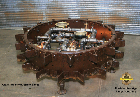 Steampunk Industrial / Antique Farm Tractor farm wheel coffee table #dc117