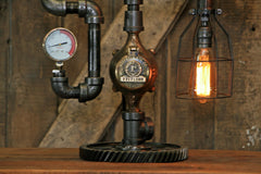 Steampunk Industrial Machine Age Lamp / Steam Gauge / Gear / Nordberg / Wisconson / Lamp #2203