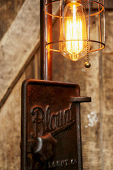 Steampunk Industrial Lamp, Steam, Iron Stove Door  #417 - SOLD