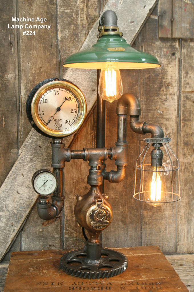 Steampunk Lamp, Steam Gauge and Green Shade #224 - Sold