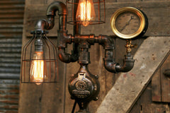 Steampunk Industrial / Antique Shade and Steam Gauge / Gear / Meter / Lamp #1616 sold