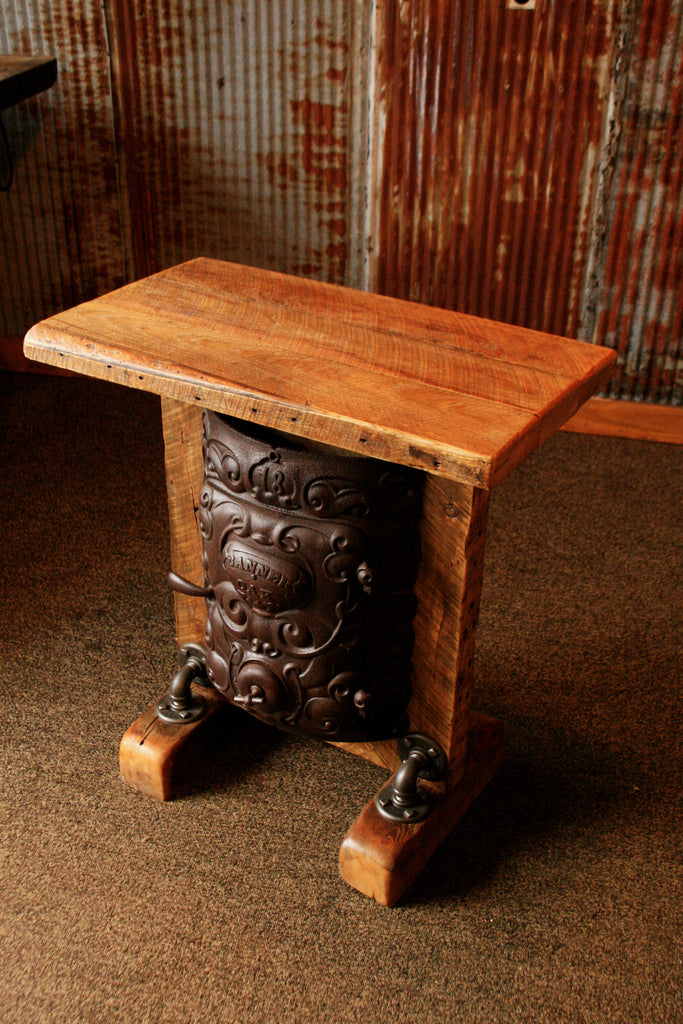 Steampunk Industrial Table Or Lamp Stand Round Oak Stove
