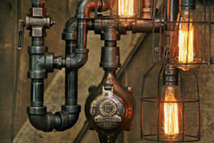 Steampunk Industrial Machine Age Lamp / Steam Gauge / Gear / Lamp #2222