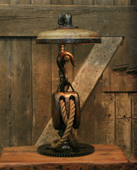 Steampunk Industrial / Antique Wood Block and Tackle Pulley  / Antique Chicken Feeder Shade / Gear / Lamp #2061