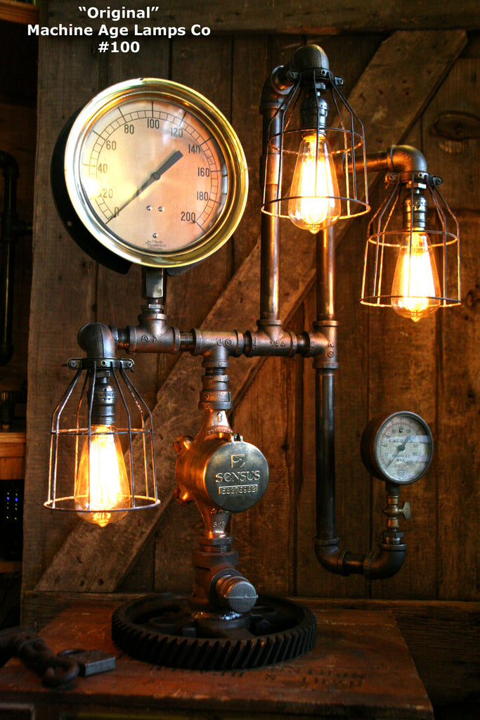 Steampunk Lamp, Machine Age Lamp, Steam Gauge #100 - SOLD