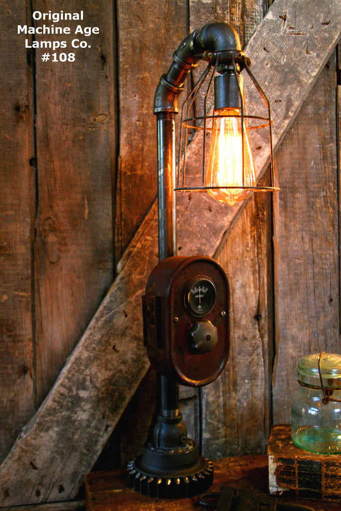 Steampunk Lamp, Antique Farmall Tractor Dash Farm Lamp #108 - SOLD