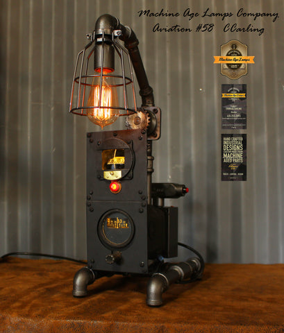 Machine Age Lamp Airplane Aviation Light / Directional Gyro / Magnetic Compass Panel / Lamp #cc58
