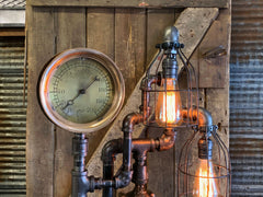 "Steampunk Industrial / 7.5"" Steam Gauge / Gear  / Gear Base / Lamp #2597"