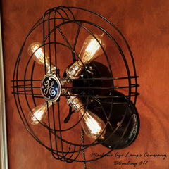 Steampunk 1940's General Electric wall Fan Lamp Wall Sconce Light , # DC17