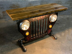 Steampunk Industrial / JEEP Willys / CJ3B / Barn Wood Top / Automotive / Table #3115