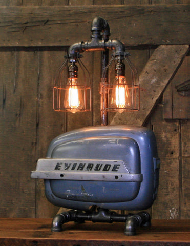 Steampunk Industrial / Boat Motor / Evinrude / Nautical / Marine / Cabin /  Lamp #2686