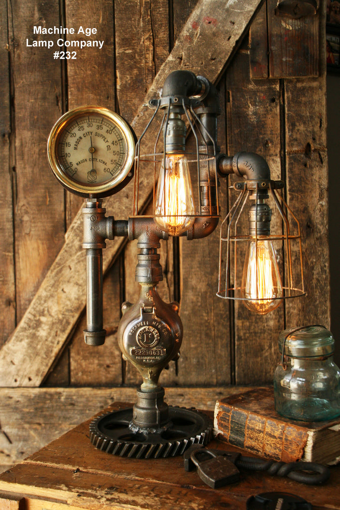 Steampunk Industrial Lamp, Steam Gauge, Train #232 - SOLD