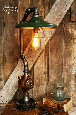 Steampunk Lamp, Antique Gear and Antique Service Station Shade #418