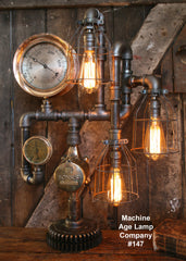 Steampunk Industril Pipe Lamp -  Rare Railroad Steam Gauge - #147 - SOLD