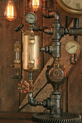 Steampunk Industrial / Vintage Brass Steam Oiler / Steam Gauge / Gear / Lamp #1686