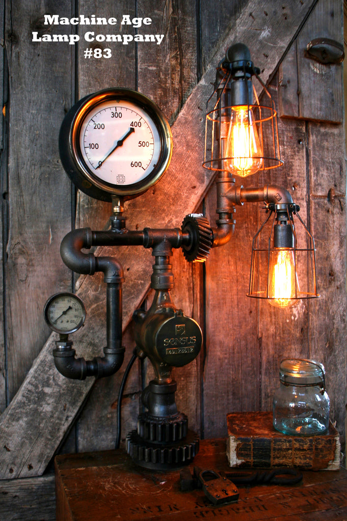 Steampunk Machine Age Steam Gauge Lamp #83 - Sold