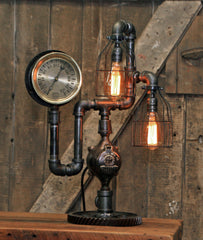 Steampunk Industrial / Antique Steam Gauge / Gear Base / Lamp #2228