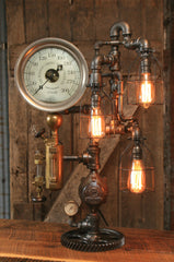 Steampunk Industrial / Steam Gauge Lamp / Ohio / Oiler #1428