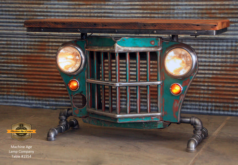 Steampunk Industrial / Willys Jeep / Grill Table / Barnwood Top / Table #1954