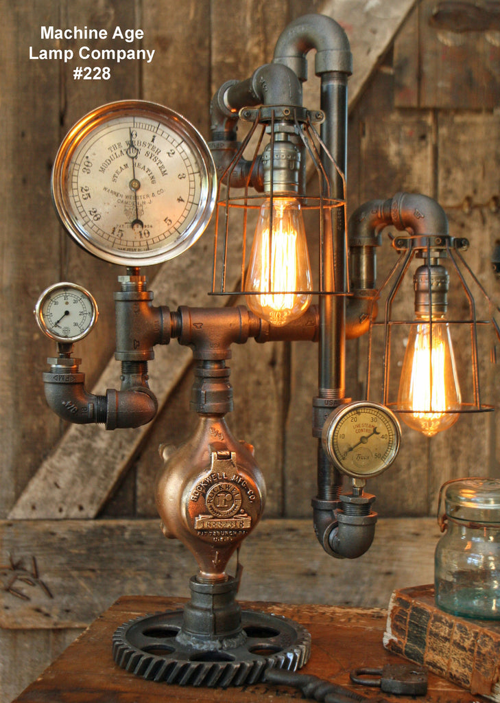 Steampunk Lamp, Steam Gauge and Green Shade #228 MTO