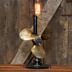 Steampunk Industrial Boat Marine Nautical Antique Brass Propeller Lamp, Gear Base #2201