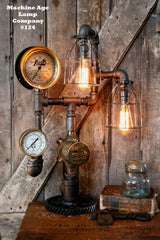 Steampunk Lamp by Machine Age Lamps, Steam Gauge Industrial #124 - SOLD