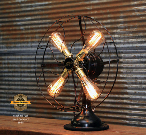 Steampunk Industrial / Antique Fan lamp  / Star Rite Fan Lamp / Lamp #1920