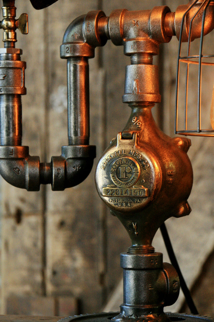 Steampunk Industrial Pipe Lamp Antique 6 Quot Steam Gauge