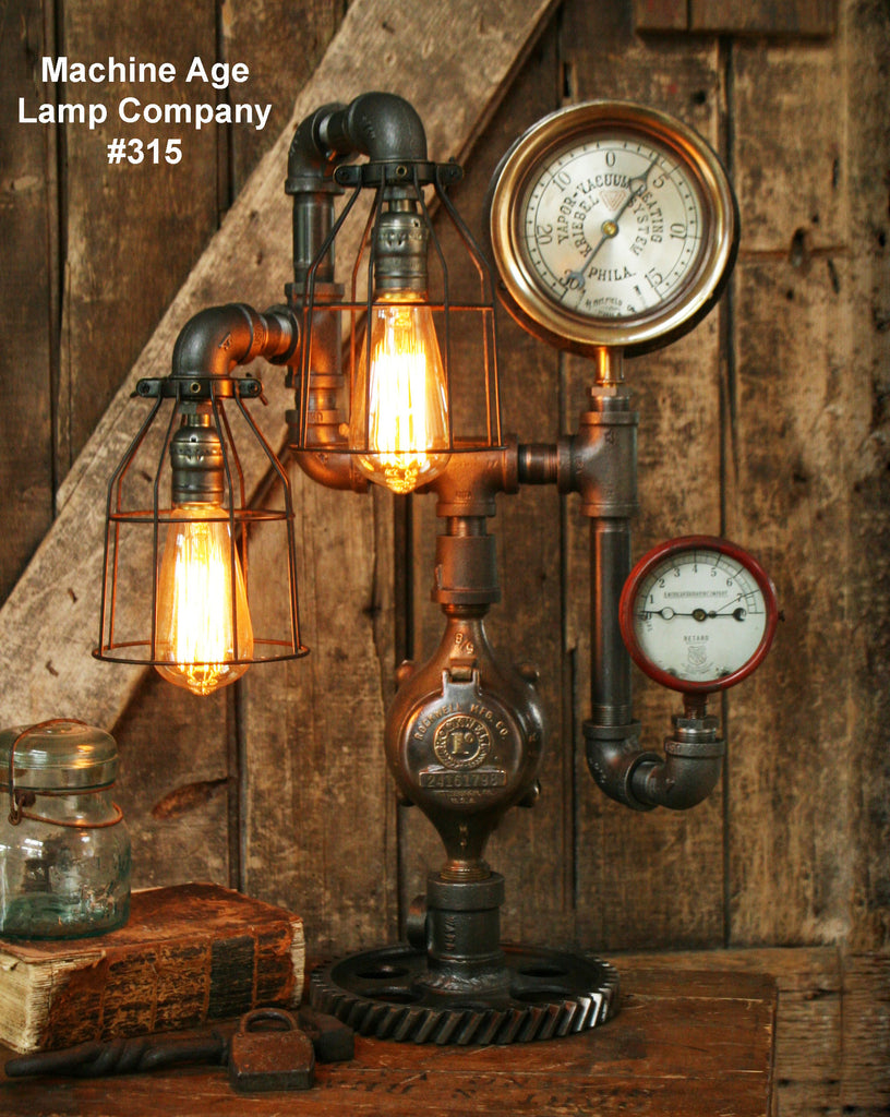 Steampunk Industrial Lamp, Steam Gauge  #315