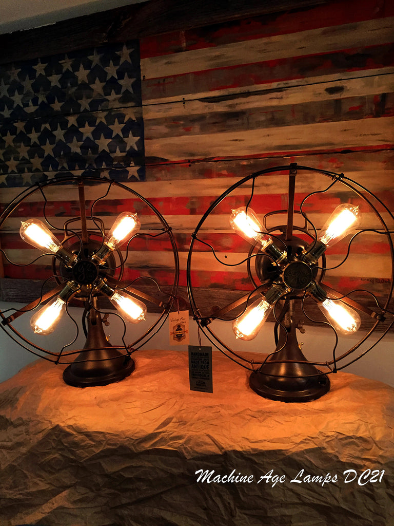 Pair of Steampunk Industrial Antique GE fan lamps DC21 - SOLD
