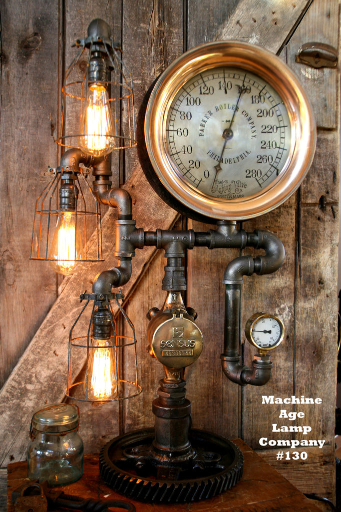 Steampunk, By Machine Age Lamps, Steam Gauge Industrial Lamp - #130