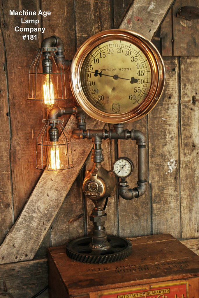 "Steampunk Lamp, Antique 10"" Steam Gauge and Gear Base #181 - SOLD"
