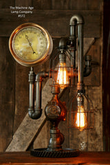 Steampunk Lamp, Antique Steam Gauge and Gear Base #572 - SOLD